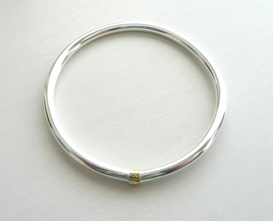 Sterling Silver and 14 K Solid Gold minimalist Bangle
