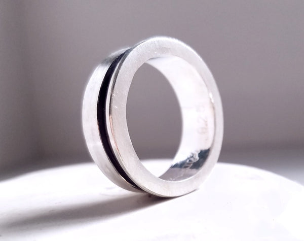 Men's Sterling Silver ring with black oxidation grooved line