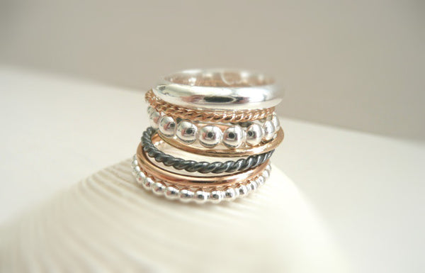 The Stack - Set of 7 Sterling Silver and 14 k  Solid Gold Rings - Different Styles