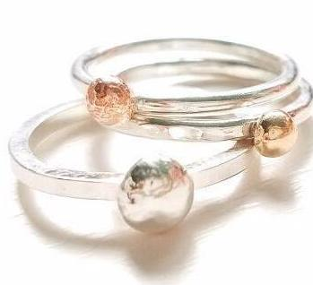 14 K Gold and Silver Pebbles Rings, Set of Three stacking rings