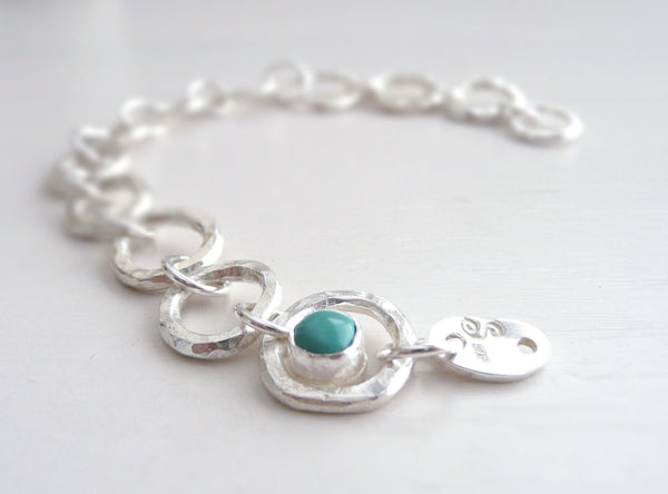 Sterling Silver Bracelet with Birthstones Turquoise emerald sapphire ruby citrine moonstone peridot tourmaline garnet etc.