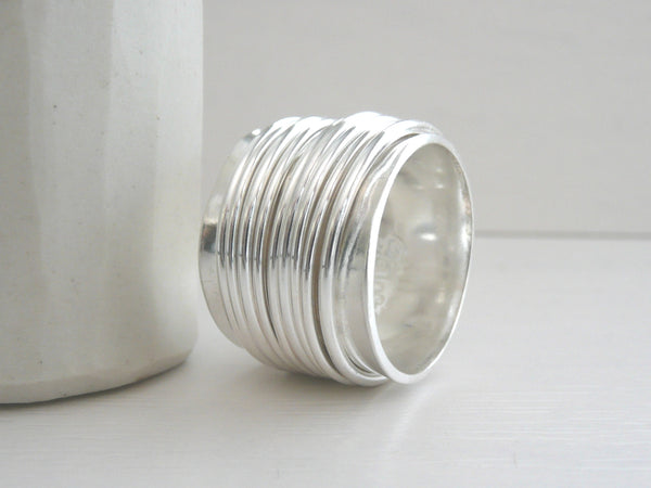 Wide Sterling Silver Spinner Ring