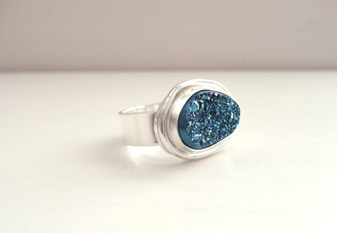Blue Agate Druzy Sterling Silver Ring