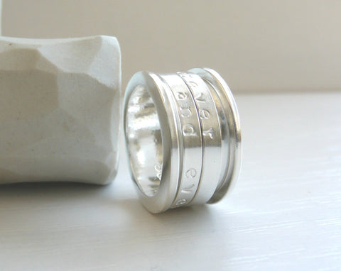 Forever and Ever Engraved Sterling Silver Spinner Ring