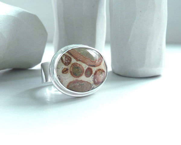 Leopard Ryolite Stone Sterling Silver Ring