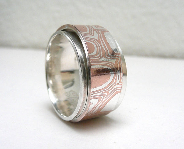 Mokume Gane Sterling Silver Spinner Ring