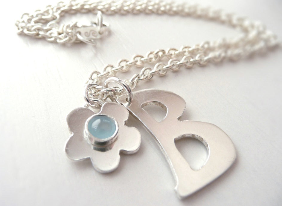 Initial and Birthstone Flower Necklace Sterling Silver
