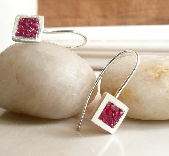 Raspberry Earrings - Sterling Silver and Rubies