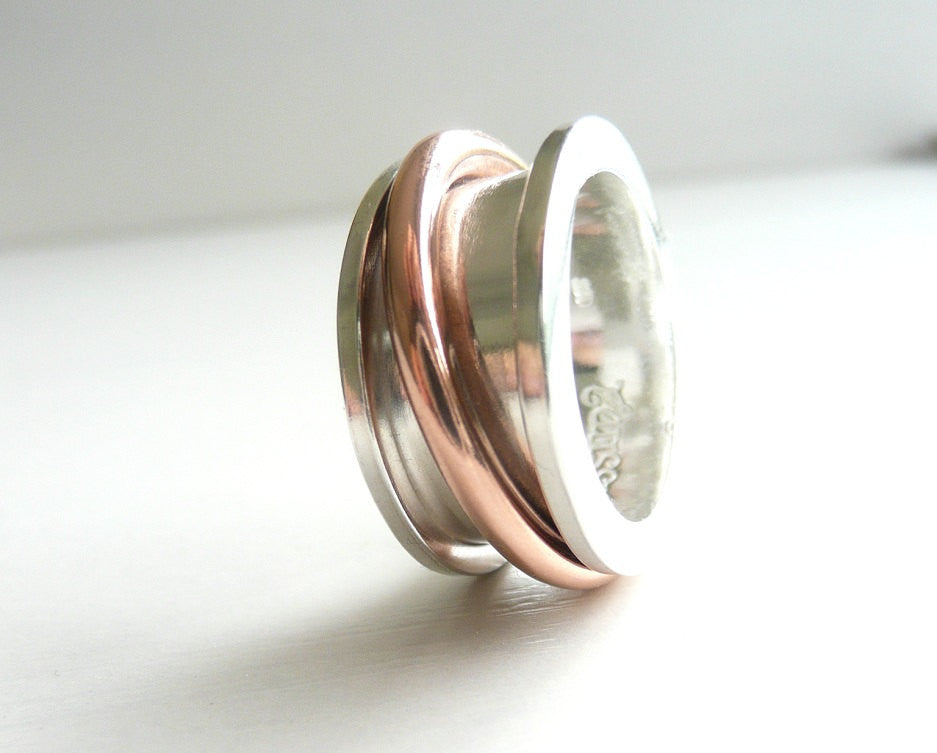 Spool Sterling Silver and Copper Spinner Ring