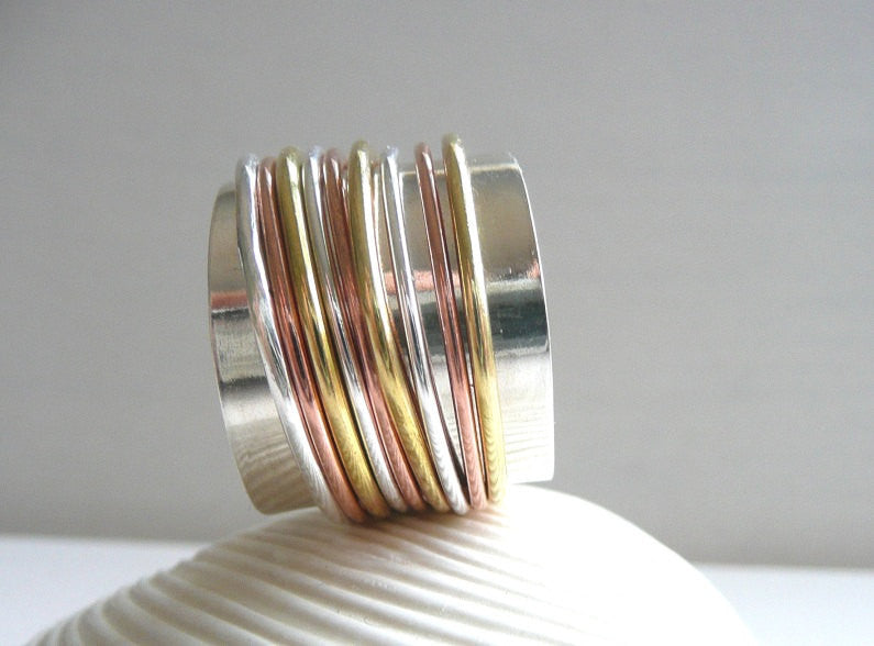 Wide Sterling Silver, Copper and Brass Spinner Ring