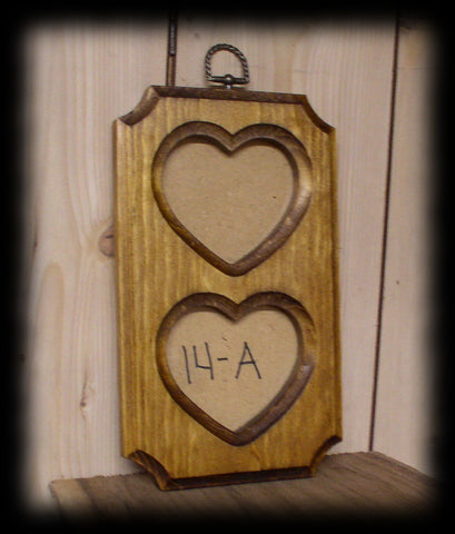fr Rustic Solid Wood Double Heart Picture Frame With Glass and Back Board