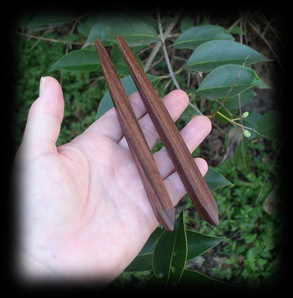 Obelisk Hair Stick Pair BOCOTE WOOD 6 Inches