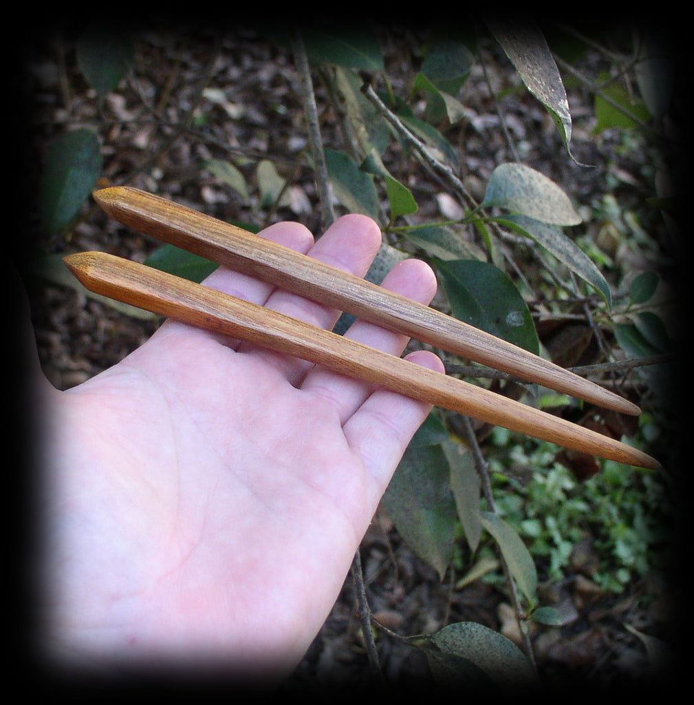 Obelisk Hair Stick Pair CANARY WOOD 6 1/4 Inches