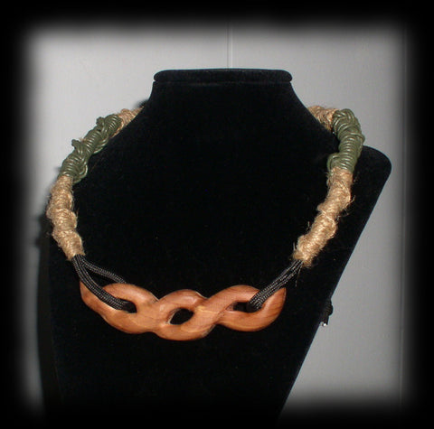 jwl Artisan Rope And Red Cedar Wood Choker 14 in Expandable to 26 in