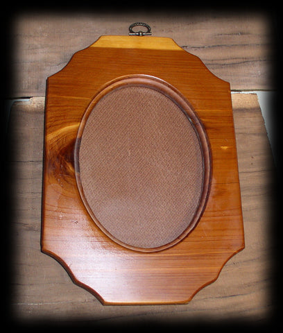 fr Rustic Solid Red Cedar Wood Oval Picture Frame with Glass and Back Board 6 1/8 X 4 1/2 Opening