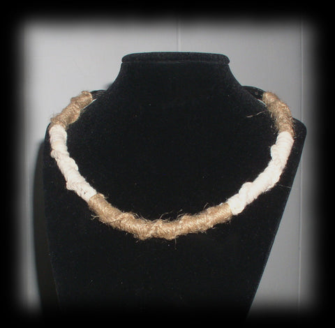 jwl Artisan Hemp and Cotton Rope Choker 12 in Expandable to 16 1/2 in