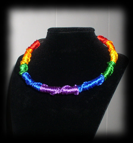 jwl Artisan RAINBOW Satin Cord Rope Choker 12 in Expandable to 16 in