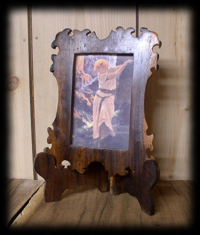 fr Rustic Hand Cut Black Walnut Picture Frame and Easel 4 1/4 X 3 in Opening