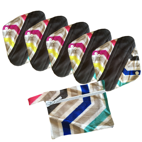 5 Cloth Menstrual Pads Panti Liners with WetBag for light day flow or a back up for your Period Cup (5 Pattern Choices)
