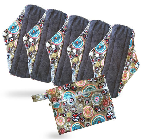Period Mate Mama Cloths for Medium to heavy Flow with a Bonus Wet bag ( 6 pieces) Carnival