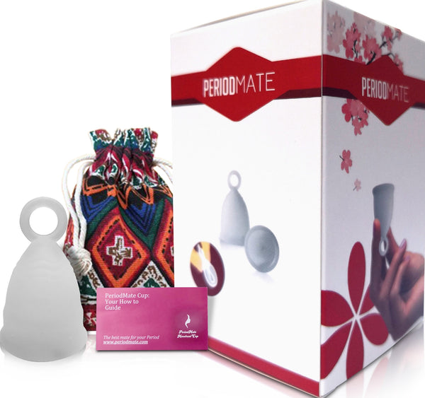 Period Mate Menstrual Cups 5 Color Choices with Ring for Easy removal (Large and Small)