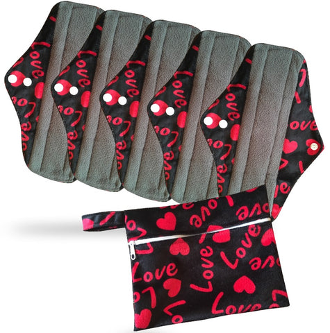 Period Mate Mama Cloths for Medium to heavy Flow with a Bonus Wet bag ( 6 pieces) Red Love