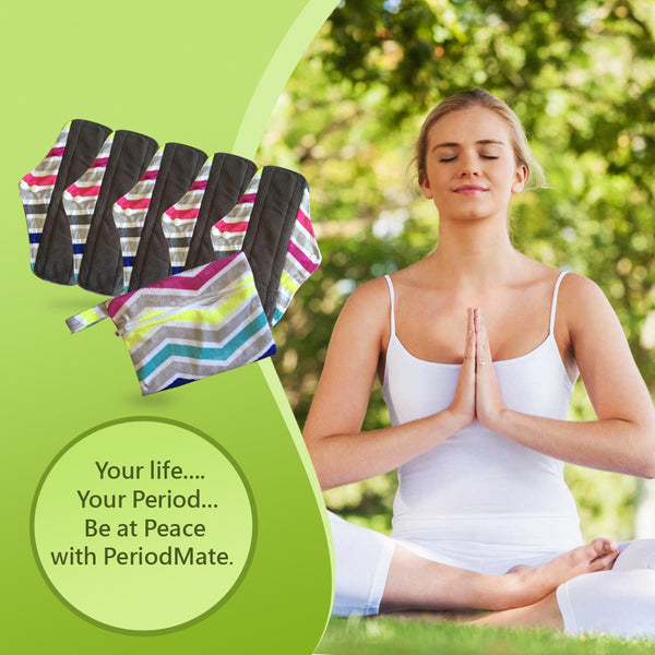 PeriodMate Stain Resistant CLOTH MENSTRUAL PADS Wit (6 PIECES) (Zig-Zag)