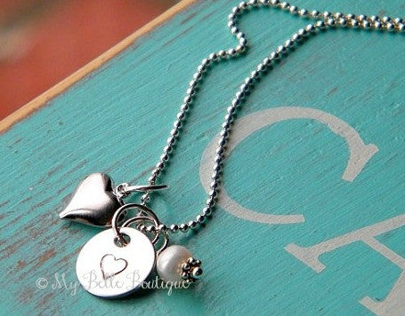 Personalized Necklace with Heart + Pearl