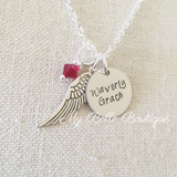 Personalized Angel Wing + Birthstone Necklace