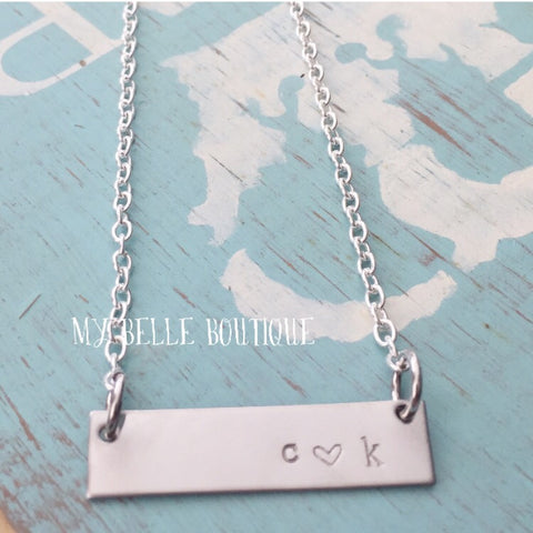 Hand-Stamped Rectangle Bar Necklace