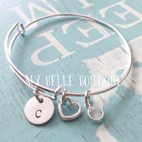 Bangle Charm Bracelet with Birthstone and Heart Charm