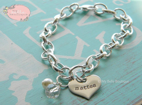 Personalized Heart Charm Bracelet with Pearl + Bead