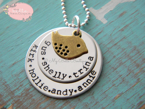 Personalized Double Disc Bronze Mama Bird Necklace