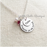 Personalized Forever In My Heart Pearl + Birthstone Necklace