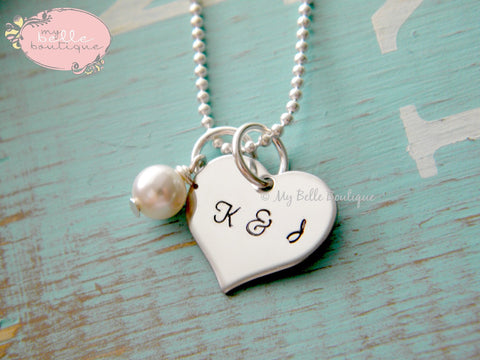 Heart Shaped Necklace + Pearl