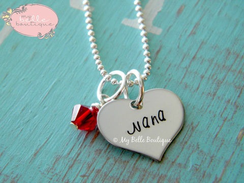 Personalized Heart Shaped Necklace + Birthstone
