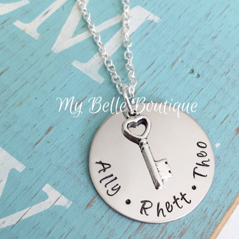 Personalized Key Hand-Stamped Necklace