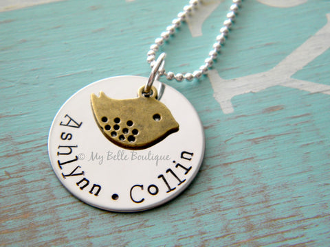 Personalized Bronze Mama Bird Necklace