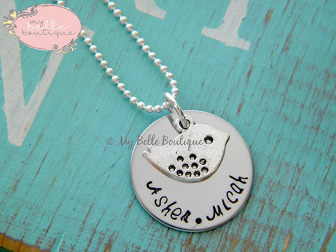 Personalized Silver Mama Bird Necklace