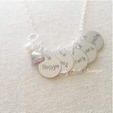 Personalized Multi Disc Mother's Necklace with Heart + Pearl