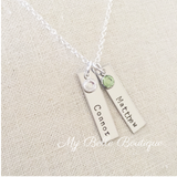 Personalized Rectangle + Birthstone Necklace
