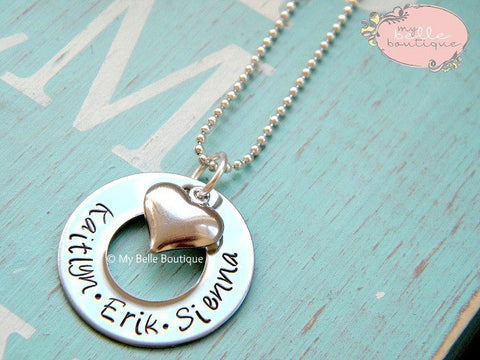 Personalized Small Washer + Heart Necklace