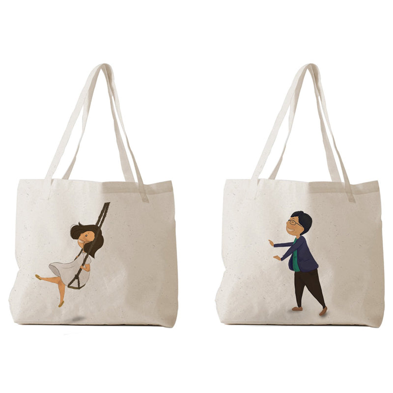 Tote Bag - Couple chibi đánh đu