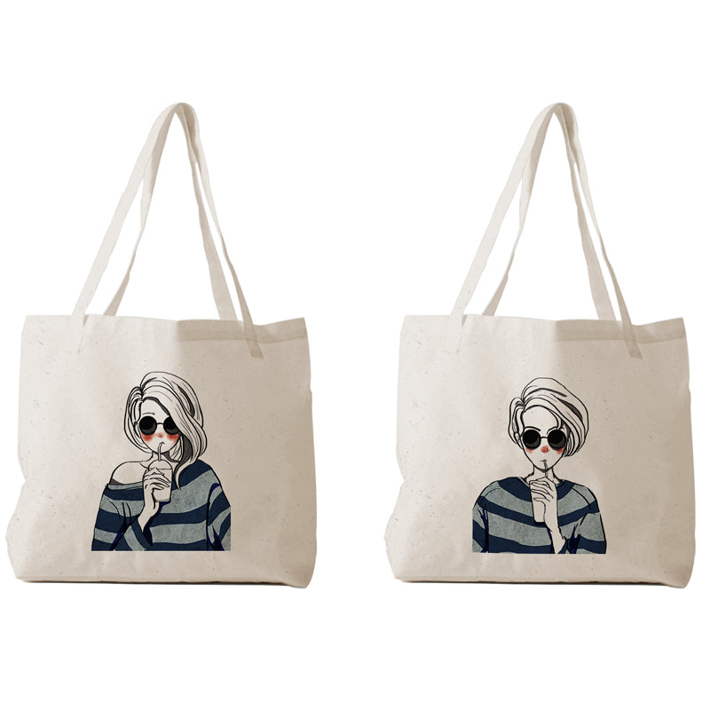 Tote Bag - Couple chibi drink