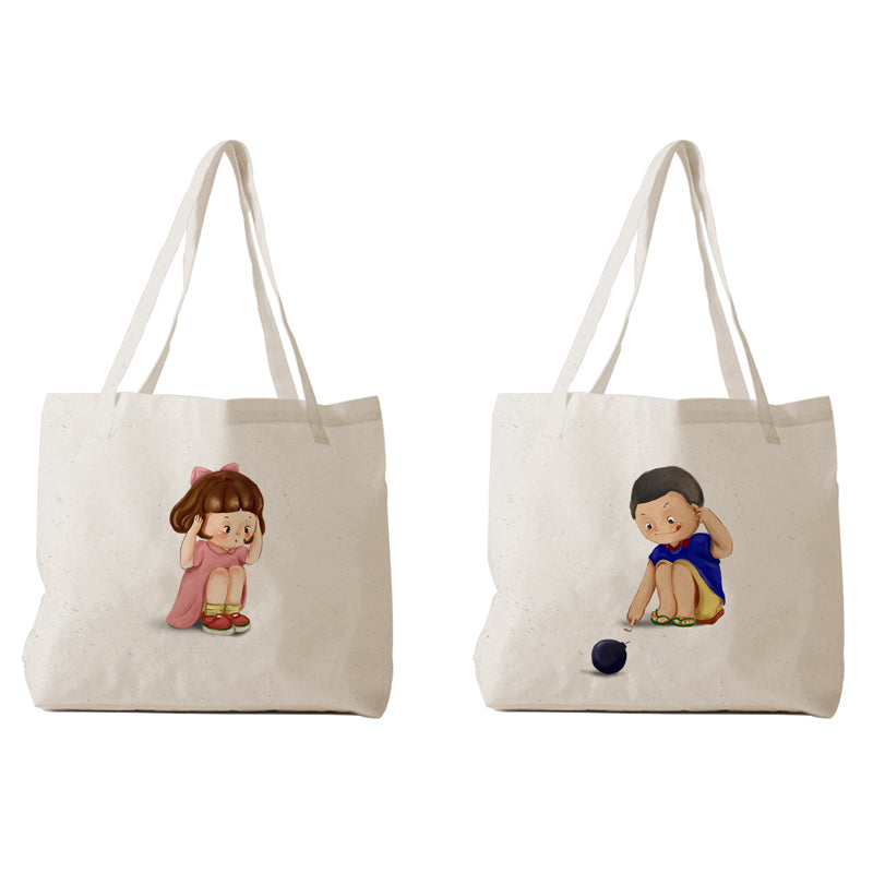 Tote Bag - Couple chibi kids