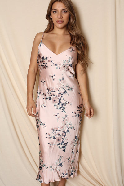 Floral Satin Laced Back Dress