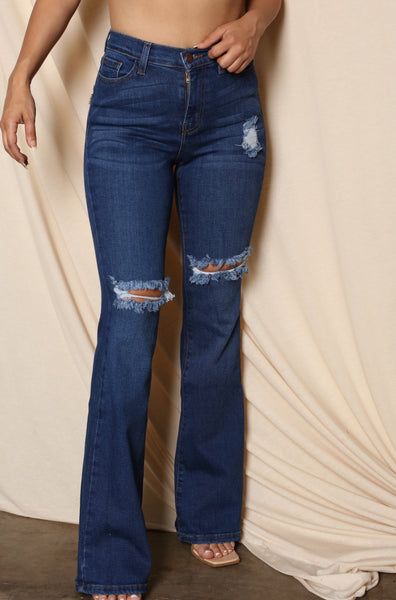 High Waist Cutout Ripped Flared Jeans
