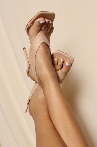 Square Toe Sandal Like Nude Pumps