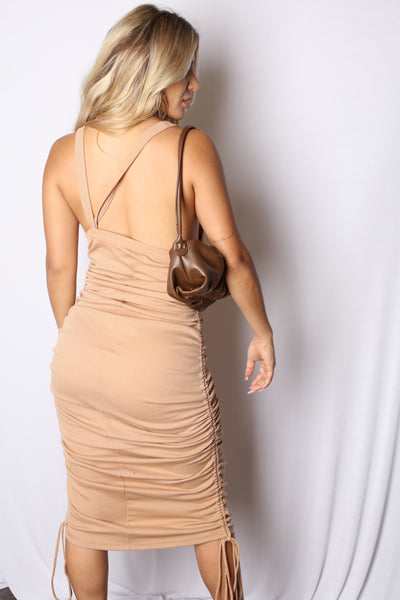 Laced Up From the Front Mini Dress Black