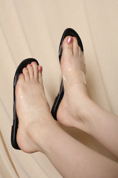 Black Clear strap Sandals